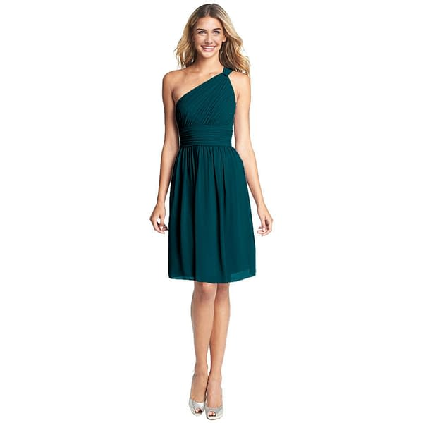 Graceful One Shoulder Chiffon Cocktail Evening Party Bridesmaid Dress Teal 171370016966
