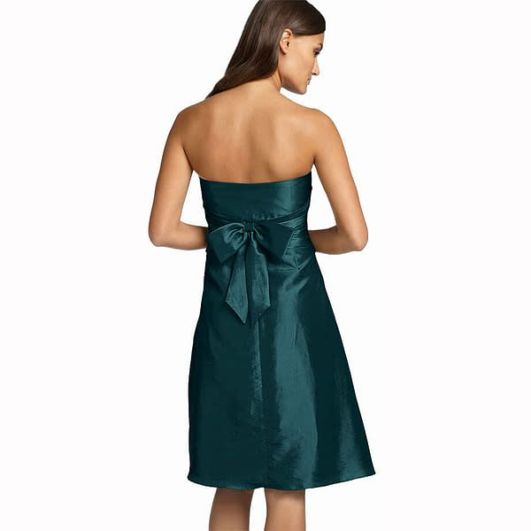 Strapless Pleated Knee Length Formal Taffeta Cocktail Party Dress Teal 171375490182 2