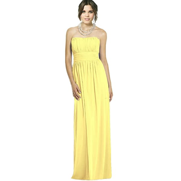 Strapless Chiffon Formal Cocktail Evening Ball Gown Bridesmaid Dress Yellow 191228325639