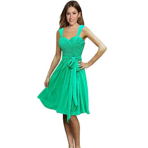 Sweetheart Pleated Chiffon Cocktail Evening Party Bridesmaid Dress Turquoise 172537100195