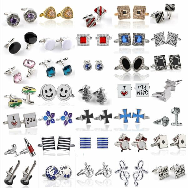 Mens Silver Plated Formal Party Shirt Cufflinks Stainless Novelty Gift Wedding 402394121646
