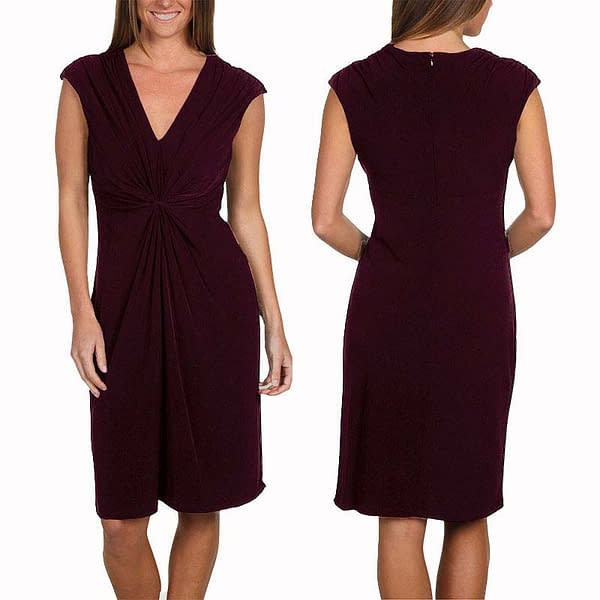 Alluring Twist Front Sleeveless Jersey Day Night Dress Rosewood