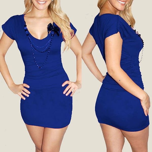 Fitted Ruched Badycon Evening Party Club Mini Dress co9748 Royal Blue 171465298116