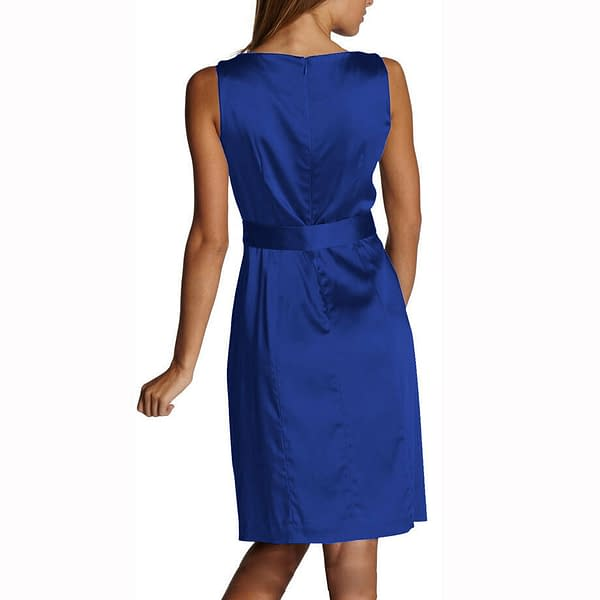 Sleeveless Scoop neck Satin Formal Cocktail Party Day Bridesmaid Dress Blue 191233598730 2