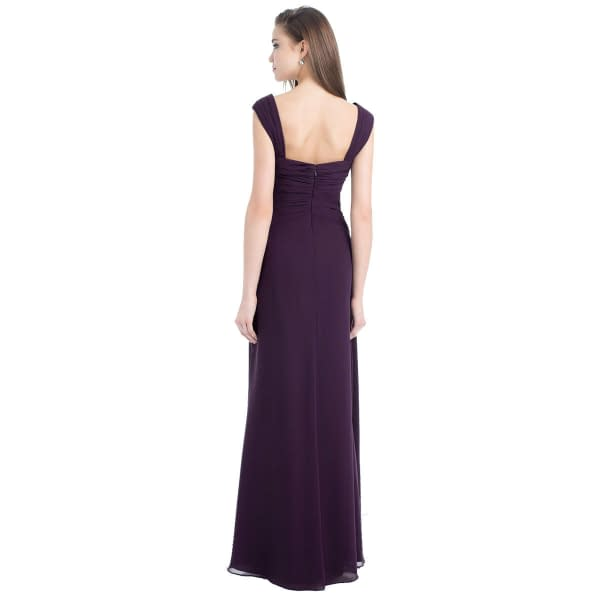 Sophisticated Chiffon Floor Length Formal Evening Gown Bridesmaid Dress Blue 191229222600 2