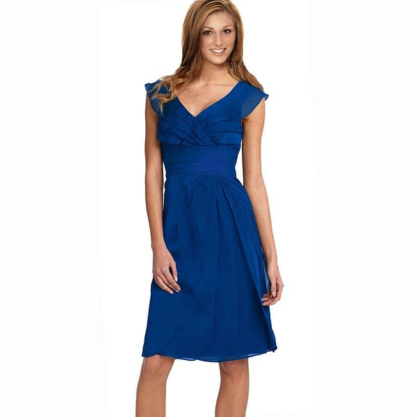 Tiered Fashion Formal Knee Length Cocktail Dress Blue