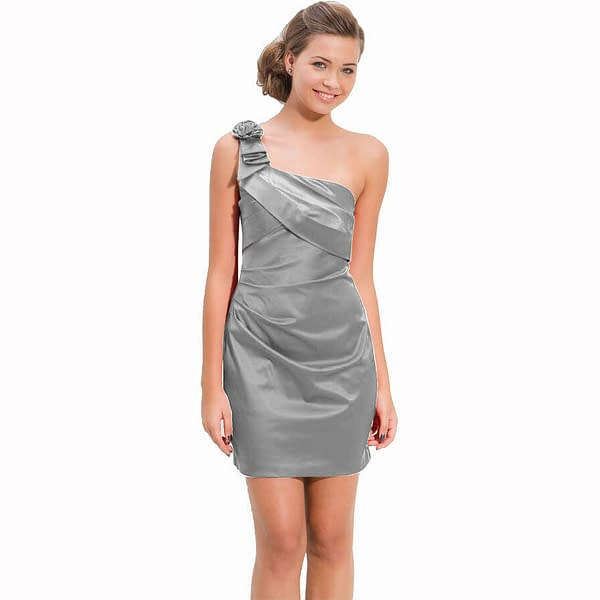 Draped Satin One Shoulder Formal Cocktail Evening Dress Prom Party Wear Silver 400736447938