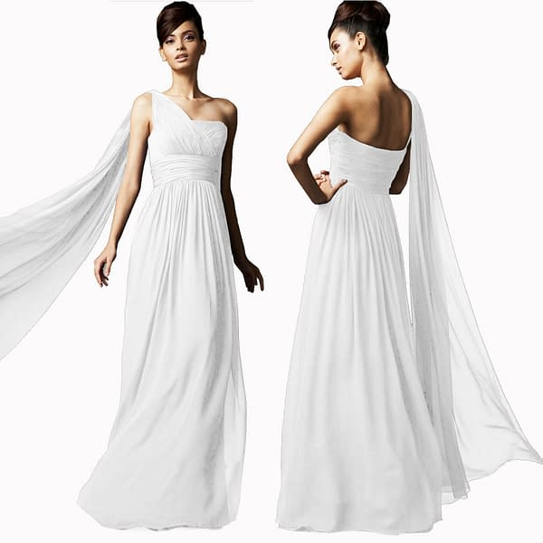 Long Flowing Formal One Shoulder Ball Gown Braidsmaid Evening Dress White 191231207456