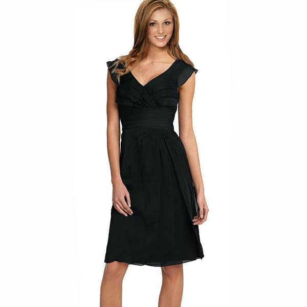 Tiered Fashion Formal Knee Length Cocktail Party Evening Dress Black 400735903179