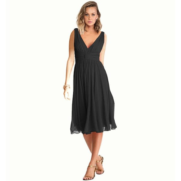 New Exquisite V Neck Cocktail Evening Party Chiffon Day Dress Black 171376216893