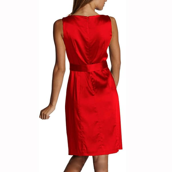 Sleeveless Scoop neck Satin Formal Cocktail Party Day Bridesmaid Dress Scarlet 400734223799 2