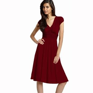 Ruched Cap Sleeves Chiffon Cocktail Dress Burgundy
