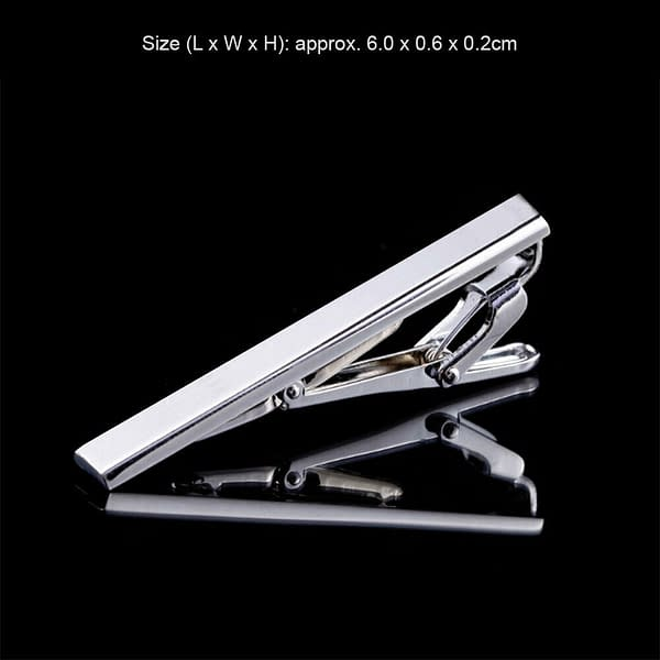 Variation of Mens 6cm Clip Stainless Steel Shirt Neck Tie Pin Bar Clasp Wedding Silver Black 174135397567 3d96