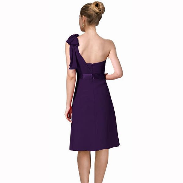 Sexy Overlay One Shoulder Knee Length Cocktail Bridesmaid Party Dress Purple 171371163202 2