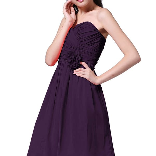 Strapless Full Length Chiffon Bridesmaids Dress Formal Evening Gown Silver Grey 400733352105 6
