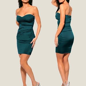Ruched Strapless Night Club Dress Teal
