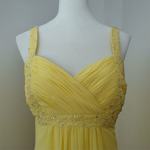 Sexy Beaded Knee Length Formal Cocktail Party Club Prom Dress Light Yellow 192109279458 2