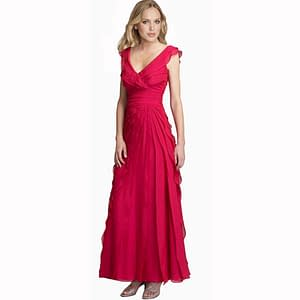 Fashion Full Length Tiered Formal Evening Dress Hot Pink