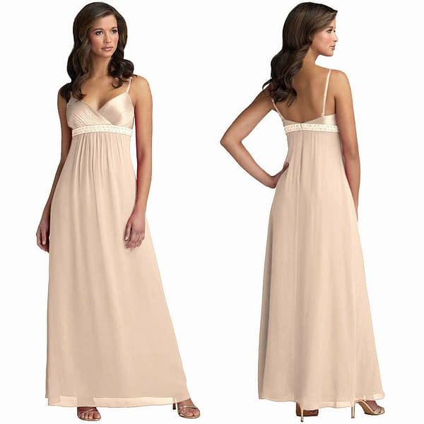 Beaded Long Chiffon Formal Evening Gown Bridesmaid Maxi Dress Champagne 171376332433