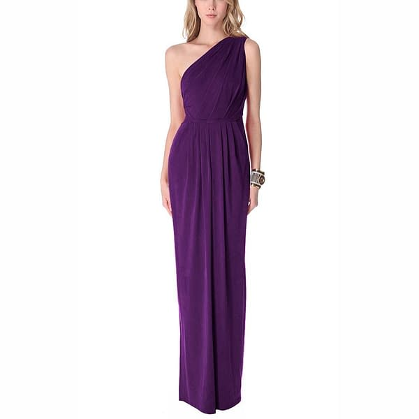 Long Draped Jersey Formal One Shoulder Gown Purple