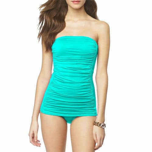 One Piece Solid Ruched Bandeau Swimsuit Strapless Straps Swimwear Bathers Aqua 171497468721
