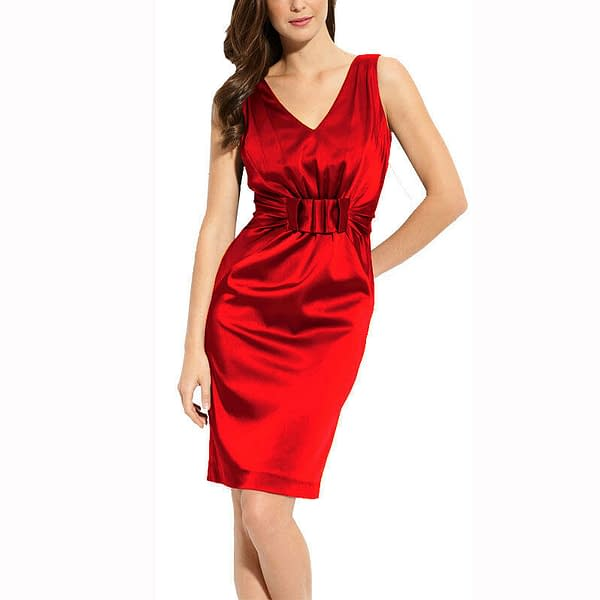 Gathered V Neck Stretch Satin Formal Cocktail Evening Party Day Dress Red 171376332707