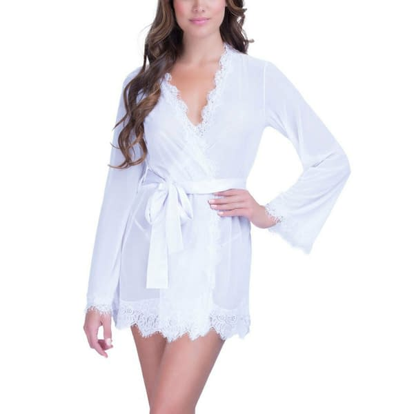 Variation of Sheer Lace Trim Robe with Thong Intimate Chemise Lingerie 2530 Size S M L 401141034969 18f2