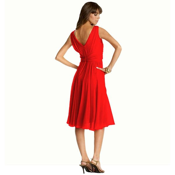 New Exquisite V Neck Cocktail Evening Party Chiffon Day Dress Red 400736516369 2