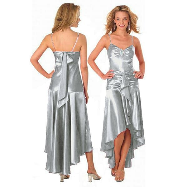 Gorgeous Diamond Embellished Formal Cocktail Party Prom Dress Silver 400736067662
