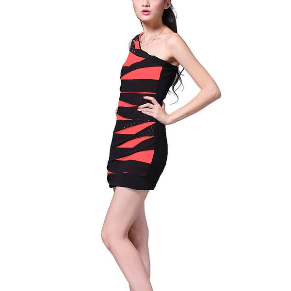 Glittery One shoulder Chiffon Club Party Cocktail Mini Bandage Dress Coral Red 192104633347 3