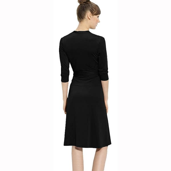 Fluid Wrap Jersey Sleeve Dress Day Night Cocktail Party Casual Wear Black 171373101437 2