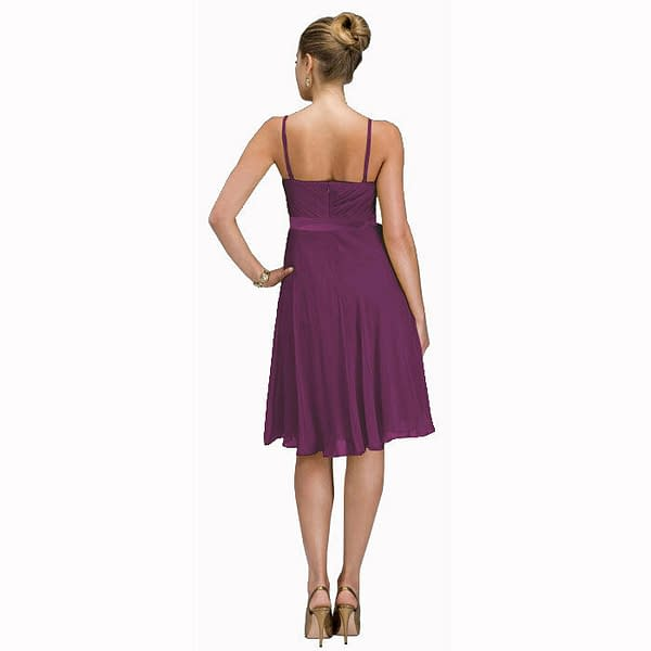 Sexy Knee Length Cocktail Party Bridesmaid Silk Chiffon Dress Violet 171375347356 2