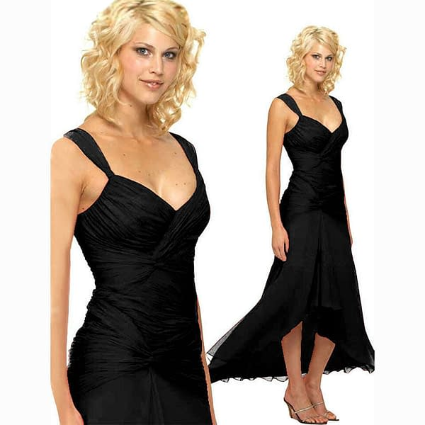 Stylish Floating High Low Formal Cocktail Evening Party Bridesmaid Dress Black 171374199991