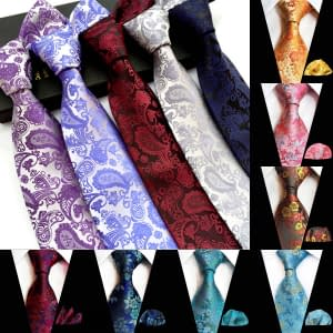 Men's Floral Woven Silk Paisley Ties with Hanky
