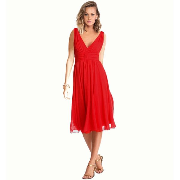 Exquisite V-Neck Cocktail Party Chiffon Dress Red