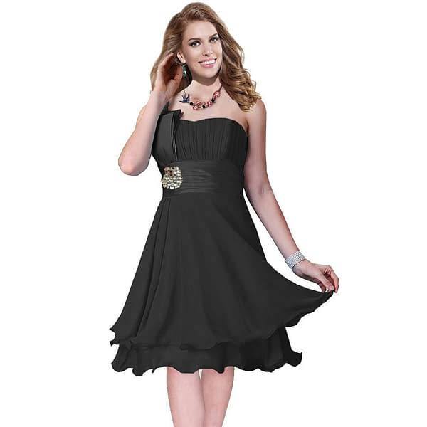 One Shoulder 2 Layer Chiffon Formal Cocktail Prom Party Dress Black 400733214118