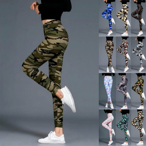 Women Camouflage Leggings Prints Stretch Casual Tights