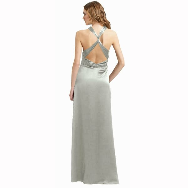 Halter Neck Silky Satin Formal Evening Bridesmaid Dress Party Ball Gown Silver 171374157943 2
