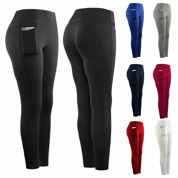 Womens Elastic Yoga Leggings Fitness Pants Sports Gym Wear Trousers with Pocket 402013640095