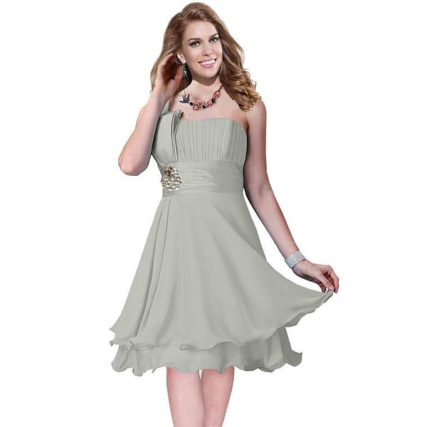One Shoulder 2 Layer Chiffon Formal Cocktail Prom Party Dress Pearl Grey 401274996919