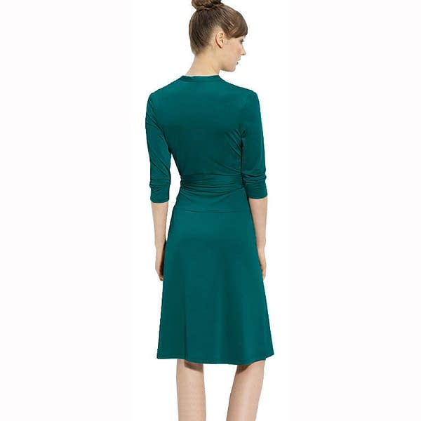Fluid Wrap Jersey Sleeve Dress Day Night Cocktail Party Casual Wear Teal 400736565098 2