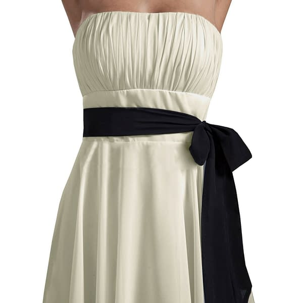 Sexy A Line Strapless Chiffon Formal Bridesmaid Cocktail Party Dress Black 191232414195 4