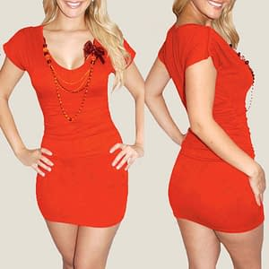 Fitted Ruched Babycon Night Club Mini Dress Orange