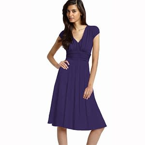 Ruched Cap Sleeves Chiffon Cocktail Dress Grape