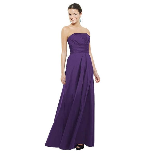 A-Line Strapless Pleated Taffeta Evening Gown Grape