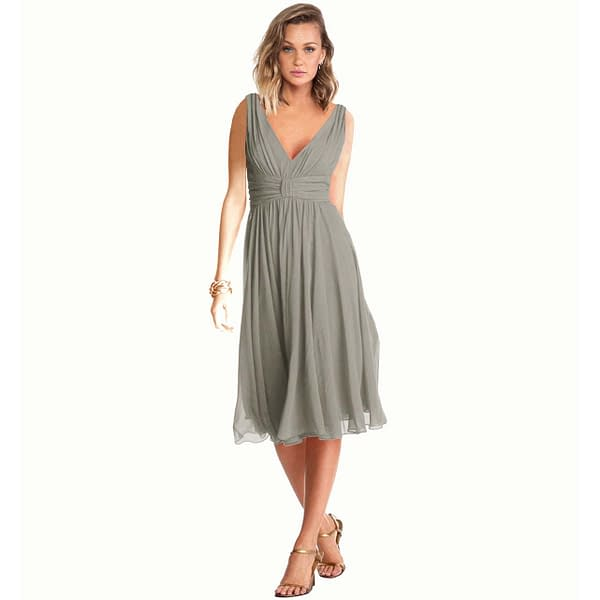 Exquisite V-Neck Cocktail Party Chiffon Dress Grey