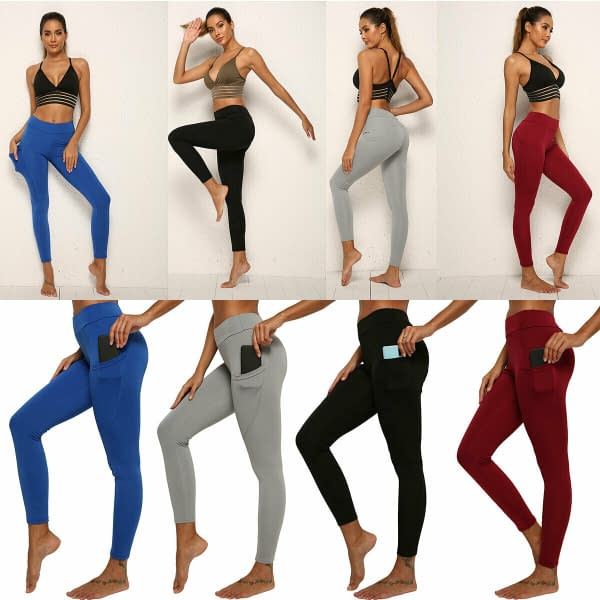 Womens Stretch Pocket Yoga Leggings Fitness Pants Sports Running Gym Trousers 174527544352
