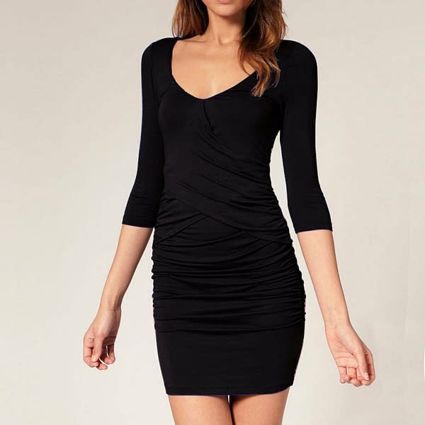 Fitted Badycon with Scooped neckline Mini Party Day Dress co9723 Black 171465298067