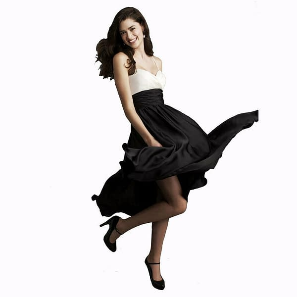 Sweetheart Two Tone Mid calf Bridesmaid Cocktail Party Dress Soft Satin Black 192103090462