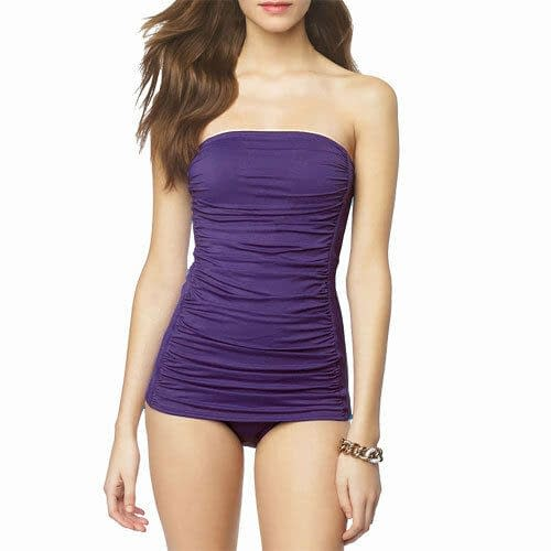 One Piece Solid Ruched Bandeau Swimsuit Strapless Straps Swimwear Bathers Grape 400787123557